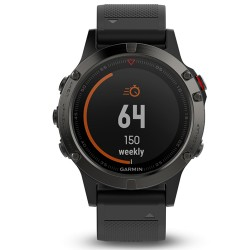 Спортивные часы FENIX 5 серые с черным ремешком